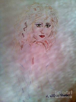 Angel Blues Drawing - Angel Behind The Screen by N Willson-Strader