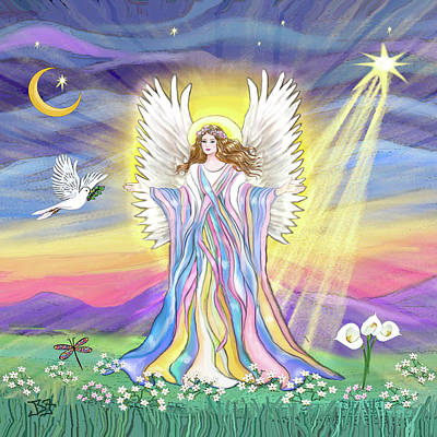 Digital Art - Angel Blessings by Jean Batzell Fitzgerald