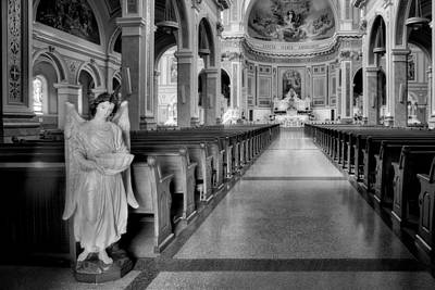 Photograph - Angel - Catholic Church - Chicago - Black And White by Nikolyn McDonald