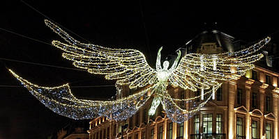 Photograph - Angel Christmas Lights Regent Street London  by Gill Billington