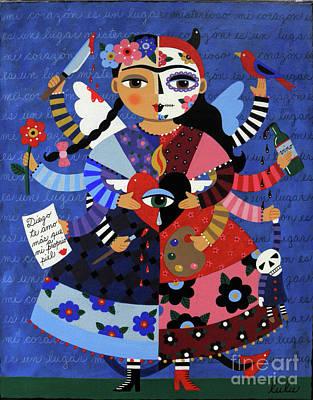 Folk Art Angel Painting - Angel Devil 10-arm Frida Kahlo by LuLu Mypinkturtle