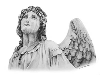 Statue Portrait Drawing - Angel Eyes by Mamie Greenfield
