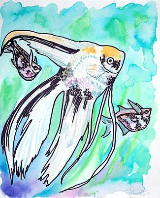 Angel Fish And Hatchet Tetras Art Print by Jenn Cunningham