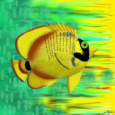 Painting - Angel Fish Yellow by Saundra Myles