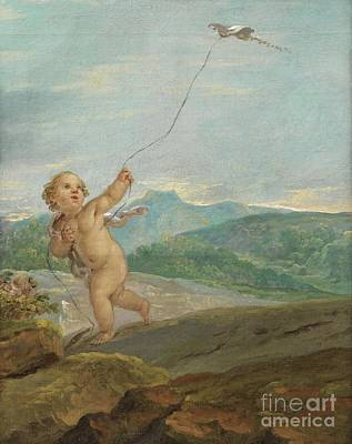 Angel Flying A Kite Art Print by Celestial Images