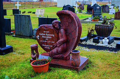 Photograph - Angel Guarding Grave Hvalsneskirkja Graveyard Iceland by Deborah Smolinske
