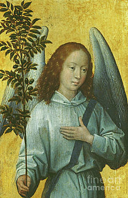 Blessings Painting - Angel Holding An Olive Branch by Hans Memling