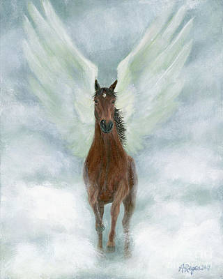 Painting - Angel Horse Running Free Across The Heavens by Amy Reges