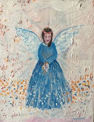 Angel In Blue Art Print by Jun Jamosmos
