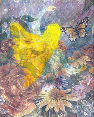 Wall Art - Mixed Media - Angel In Garden by Lynn Zuk-Lloyd