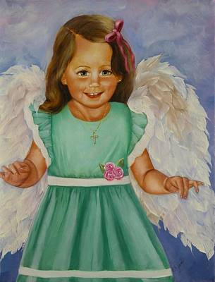 Girls Painting - Angel In Green by Joni M McPherson
