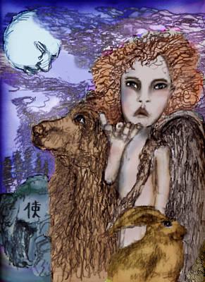 Night Angel Mixed Media - Angel In Kanji by Cynthia Richards