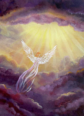 Rays Painting - Angel In Mauve Clouds by Laura Iverson
