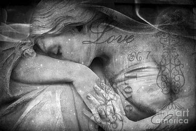 Photograph - Angel In Mourning - Angel Crying Sad Cemetery Mourner At Grave - Angel Love Script Valentine Print by Kathy Fornal