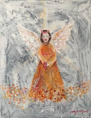 Angel In Orange Art Print by Jun Jamosmos