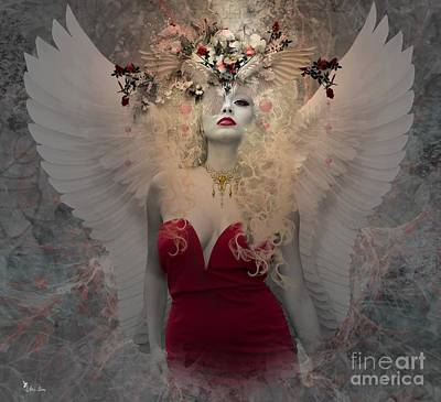 Digital Art - Angel In Red  by Ali Oppy