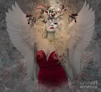 Digital Art - Angel In Red  by Ali Oppy