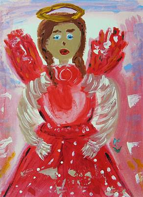Painting - Angel In Red by Mary Carol Williams