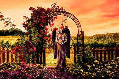 Photograph - Angel In The Garden At Sunset by Debra and Dave Vanderlaan