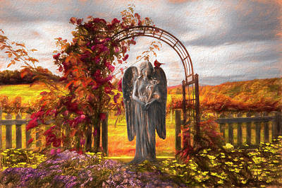 Photograph - Angel In The Garden Painting by Debra and Dave Vanderlaan