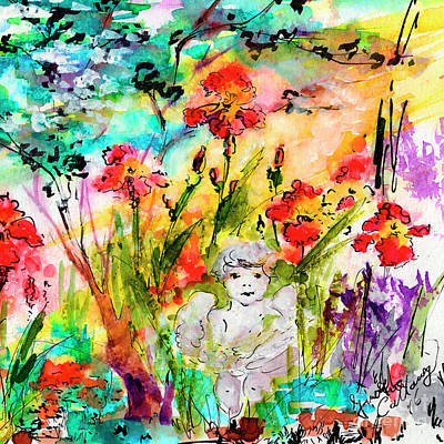 Painting - Angel In The Garden Watercolor by Ginette Callaway
