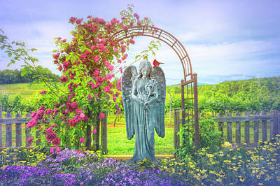 Photograph - Angel In The Morning Garden by Debra and Dave Vanderlaan