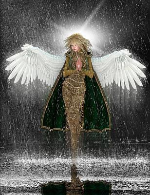 Rain Digital Art - Golden Angel In The Storm. by Charm Angels