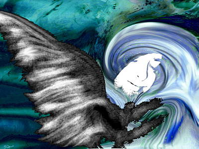 Eternity Painting - Angel In The Tempest by Abstract Angel Artist Stephen K