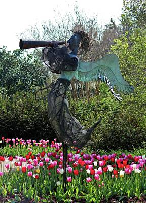 Photograph - Angel In The Tulip Garden by Cynthia Guinn
