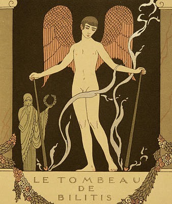 Homoerotic Drawing - Angel Le Tombeau De Bilitis by Georges Barbier