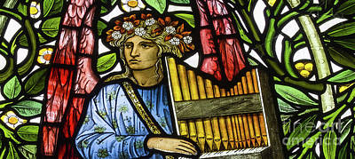 Glass Art Glass Art - Angel Musician by Edward Coley Burne-Jones and William Morris