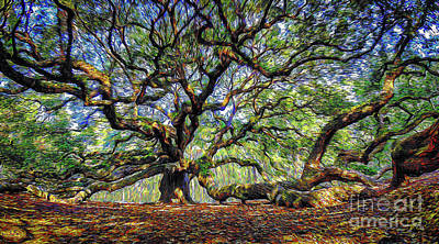 Digital Art - Angel Oak In Digital Oils by David Smith