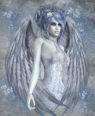 Digital Art - Angel Of Blue by Ali Oppy