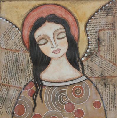 Christian Art . Devotional Art Painting - Angel Of Dreams by Rain Ririn
