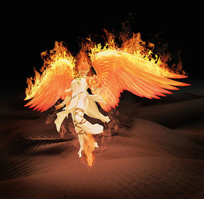 Digital Art - Angel Of Fire by Solomon Barroa