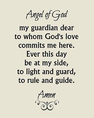 Digital Art - Angel Of God - Guardian Angel Prayer by Classically Printed