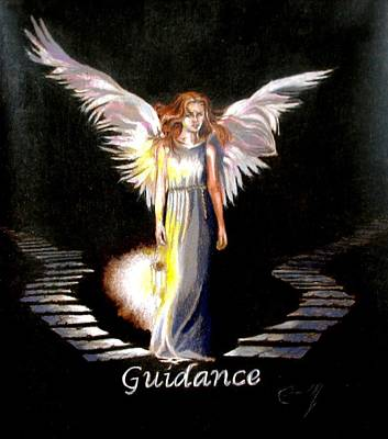 Angelic Drawing - Angel Of Guidance by Concept by Rev Kathleen L Dixon Artist Greg Crumbly