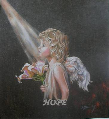 Angelic Drawing - Angel Of Hope by Concept by Rev Kathleen L Dixon Artist Greg Crumbly