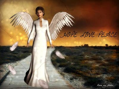 Digital Art - Angel Of Hope - With Wording by Riana Van Staden