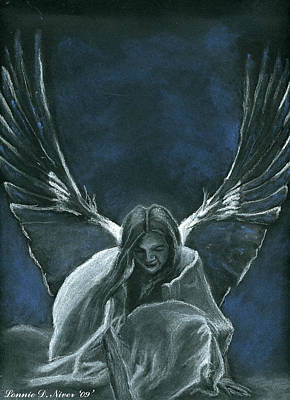 Angel Blues Drawing - Angel Of Life by Lonnie Niver