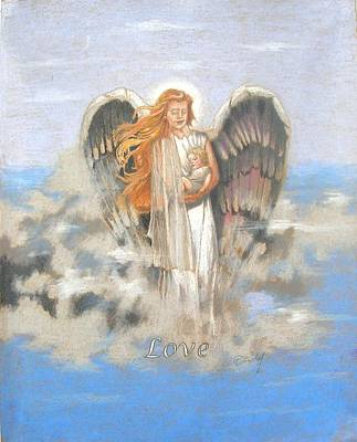 Angelic Drawing - Angel Of Love by Concept by Rev Kathleen L Dixon Artist Greg Crumbly