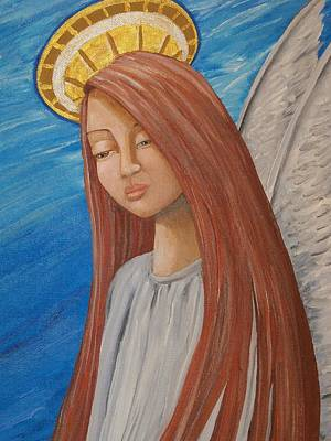 Religous Art Painting - Angel Of Sorrow by Jacklyn Marie Adelfio