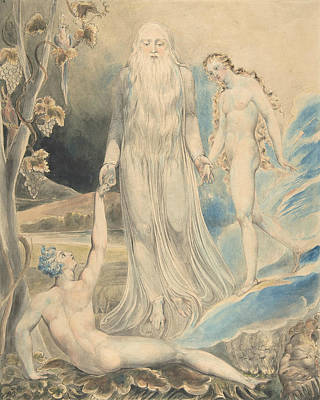 Divine Drawing - Angel Of The Divine Presence Bringing Eve To Adam by William Blake