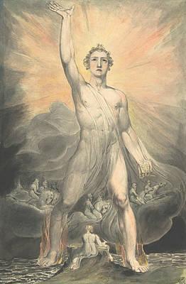 Revelation Drawing - Angel Of The Revelation by William Blake