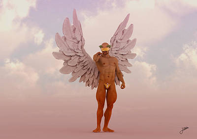 Muscular Digital Art - Angel Of The Rose Wine by Joaquin Abella