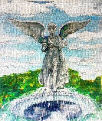 Painting - Angel Of The Waters - Bethesda Angel Central Park Nyc by Elle Smith Fagan