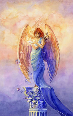 Greek Painting - Angel Of Truth And Illusion by Janet Chui