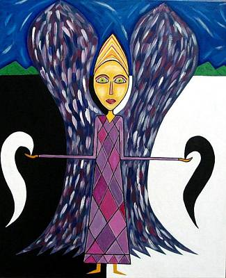 Angel Of Ying Yang Print by Sandra Marie Adams