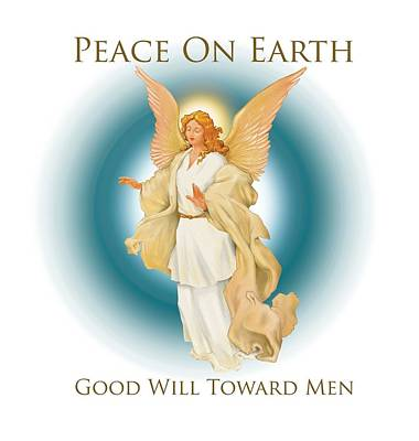 Peace On Earth Digital Art - Angel On Blue by Trevor Irvin