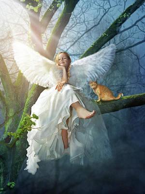 Angel On The Tree Art Print